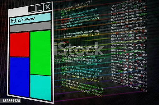 istock Program source code on monitor screen. Three layers. Shell web page or program computer code and binary code 667864426