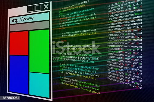 istock Program source code on monitor screen. Three layers. Shell web page or program computer code and binary code 667869064