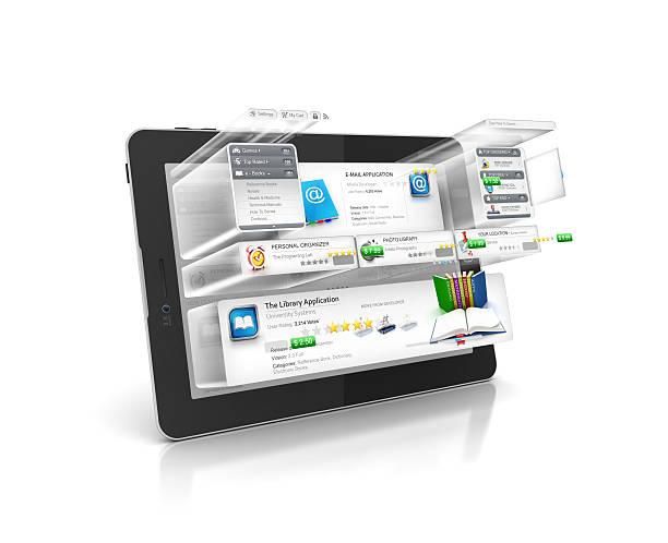 programme und gebäude software an einem tablet arbeitet - pictafolio stock-fotos und bilder
