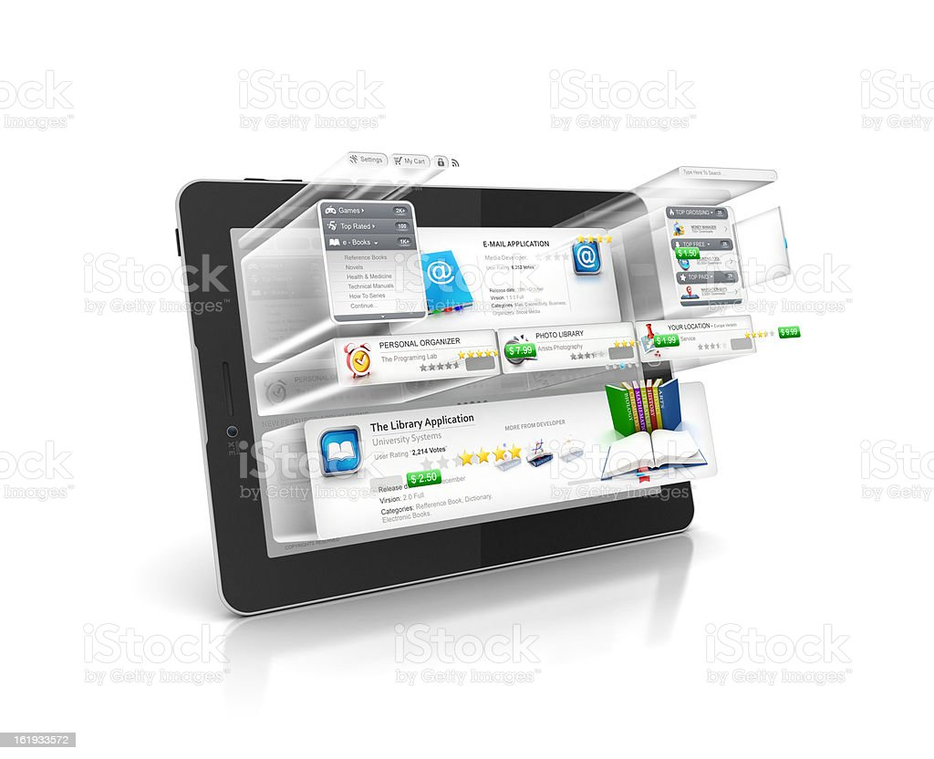 Programing and Building Software of tablet stock photo