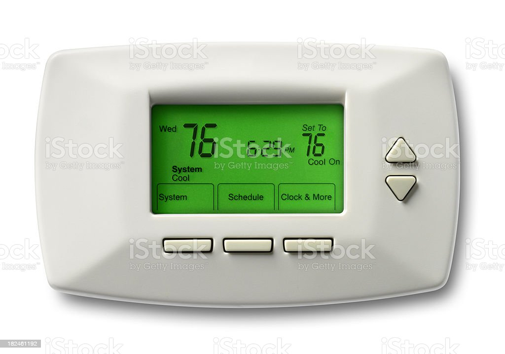 Programmable Thermostat, 76 Degrees, White Background royalty-free stock photo