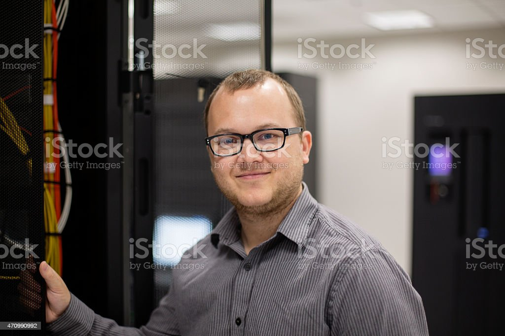 IT Programmer in Server Room stock photo