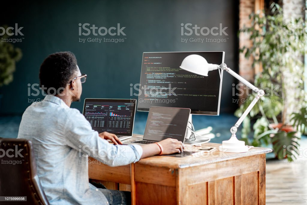 Programmer working with program code royalty-free stock photo