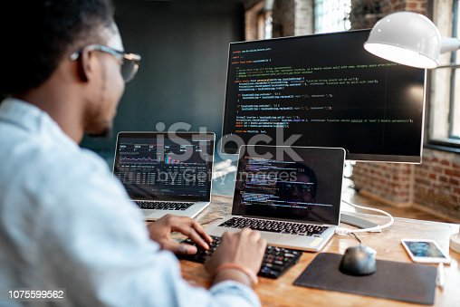 istock Programmer working with program code 1075599562