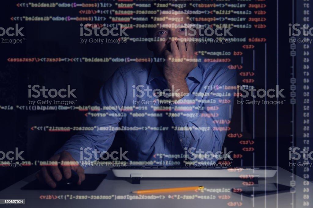 Programador Trabajando Con Programación De Código En La Pantalla De ...