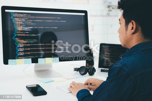 518433812istockphoto Programmers and developer teams are coding and developing software 1135157668