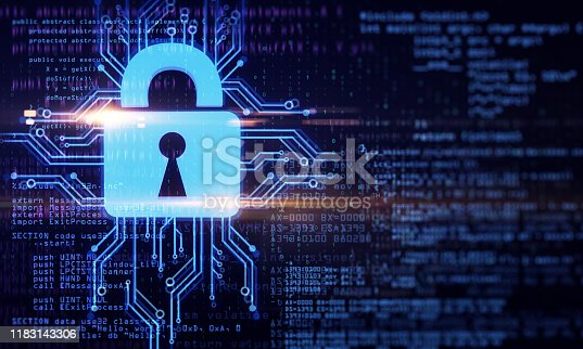 Creative binary code and digital padlock background. Programming and password concept. 3D Rendering