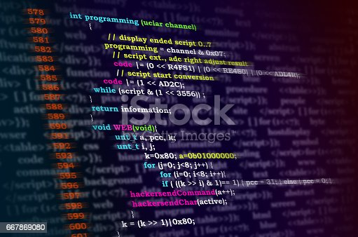 istock Programming code abstract screen of software developer. Computer script. 667869080
