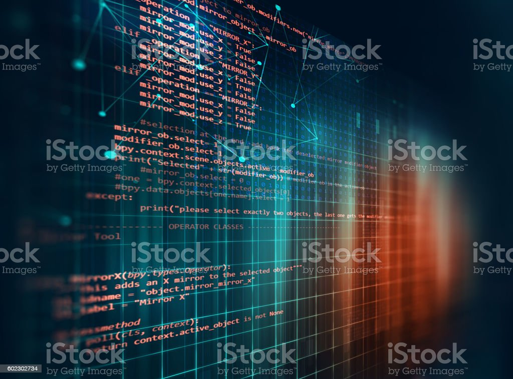 Programming code abstract technology background of software deve​​​ foto