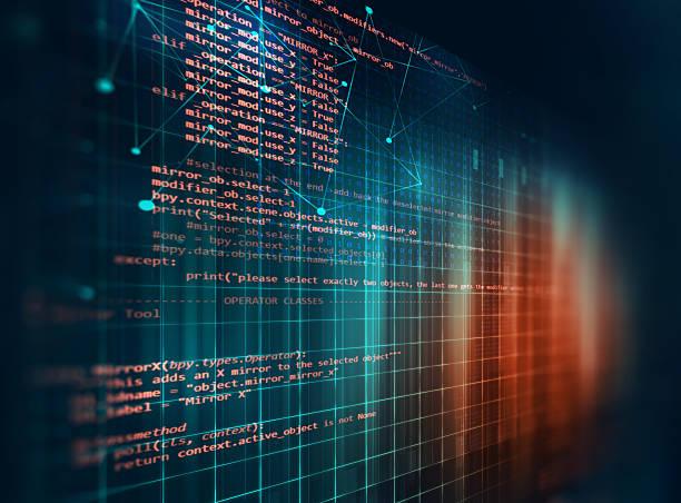 Sfondo astratto tecnologia di codice di programmazione di DEVE software - foto stock