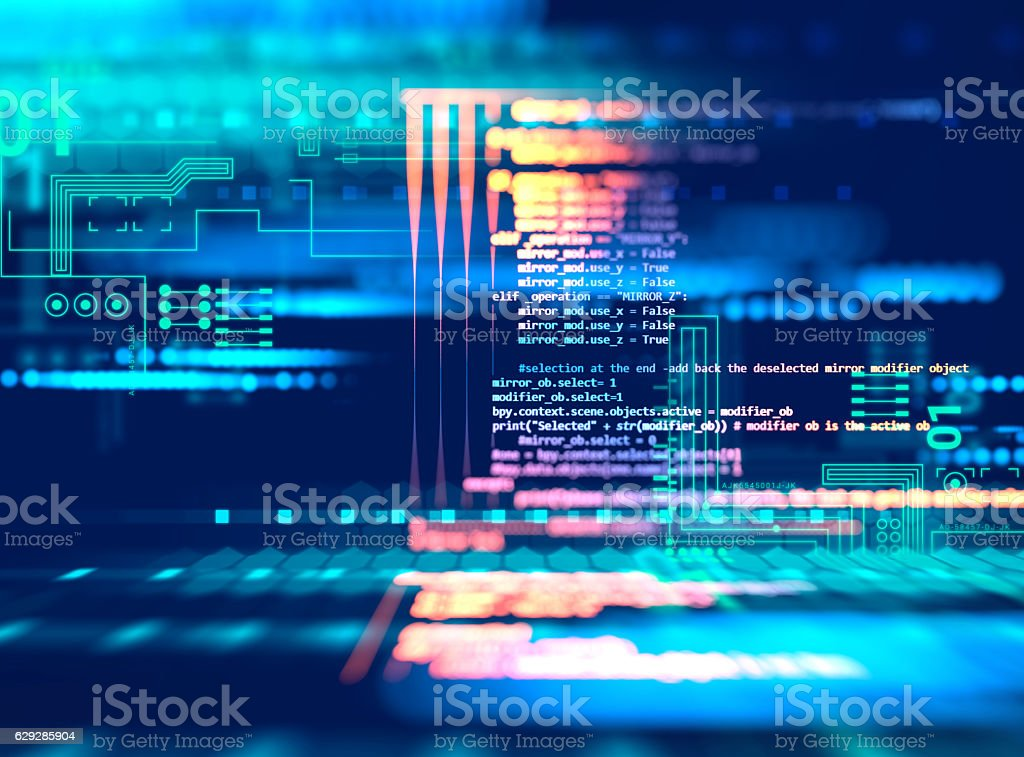 Programming code abstract technology background of software deve bildbanksfoto