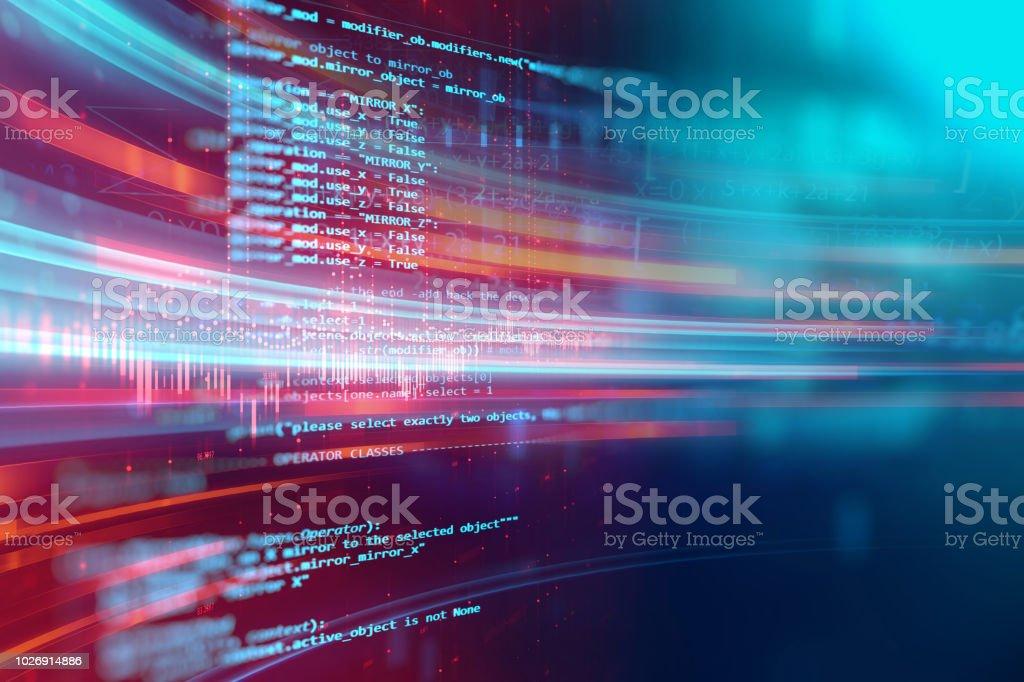 Programmation code technologie abstraite fond de développeur logiciel et script de l'ordinateur - Photo