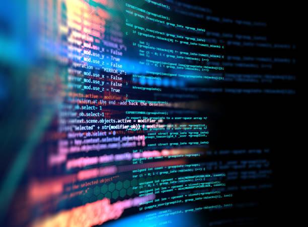 programmiercode abstrakte technologie hintergrund von softwareentwickler und computerskript - html stock-fotos und bilder