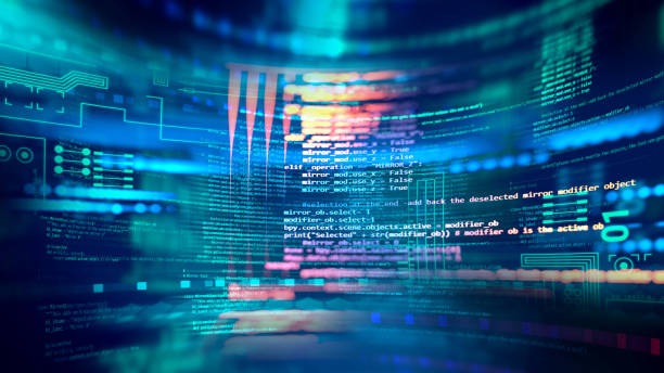 Programming code abstract technology background of software developer and  Computer script banner 3d illustration stock photo