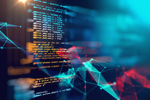 Programming code abstract technology background of software developer stock photo