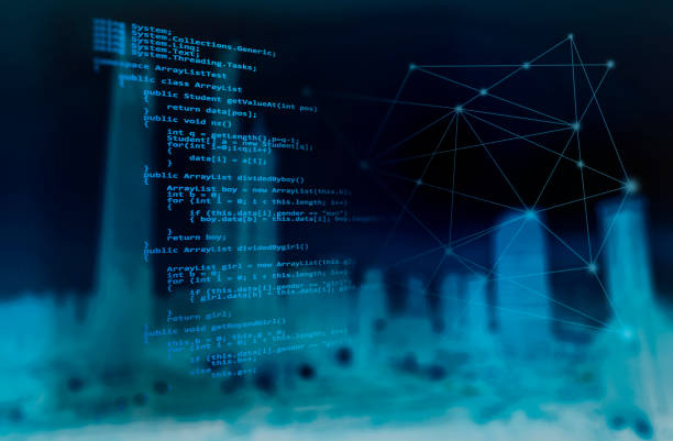 programming code and wireless technology background cityscape - algorithm stock pictures, royalty-free photos & images