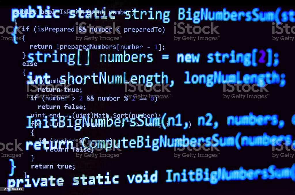 Programming code - blue color, written in C# language syntax stock photo