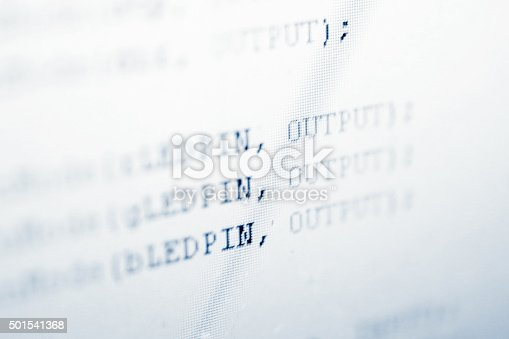 1001827816 istock photo Programming code lines on lcd screen 501541368