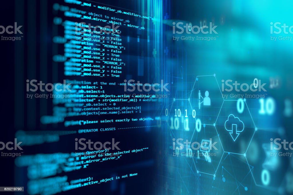 Programming code technology background of software developer and  Computer script stock photo