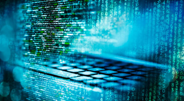 programming code with computer and matrix - algorithm stock pictures, royalty-free photos & images