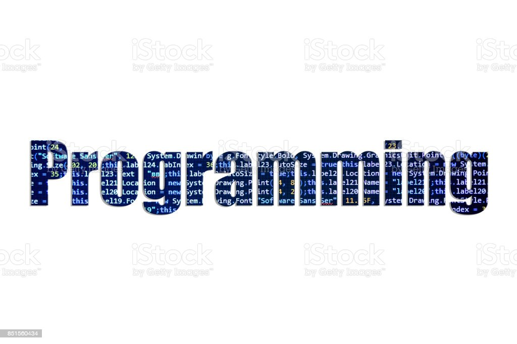 Programming concept on a white background stock photo