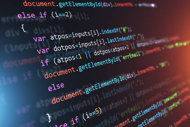 Programming source code abstract background stock photo