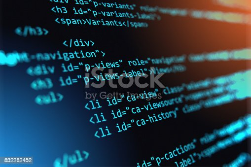 istock Programming source code abstract background 832282452