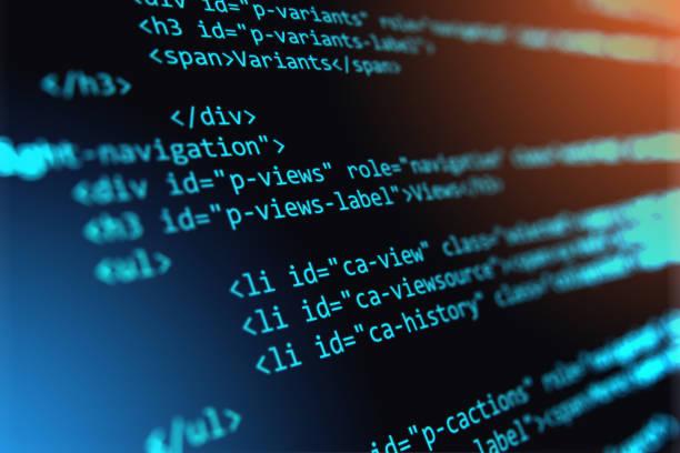 programmierung-source code abstrakten hintergrund - html stock-fotos und bilder