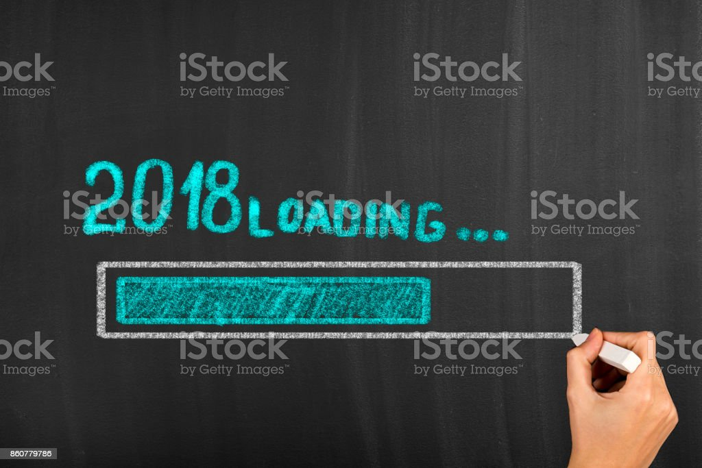 Progress Bar Showing Loading of 2018 New Year on Chalkboard stock photo