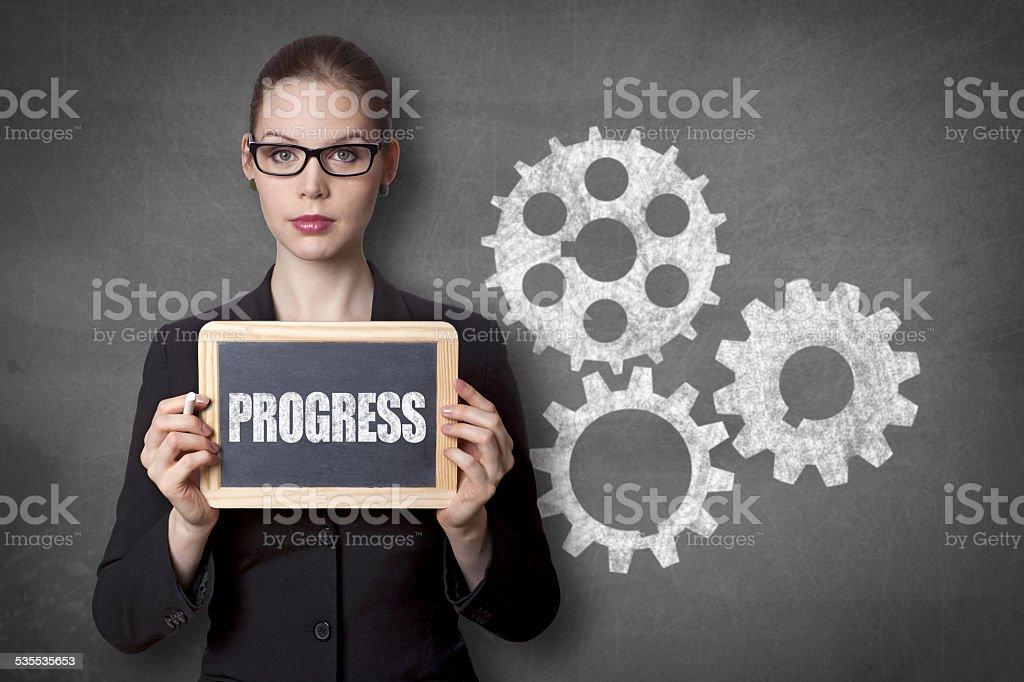 Progress black board stock photo