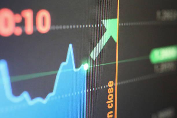 fortschritt diagramm auf dem lcd-bildschirm - inflation stock-fotos und bilder