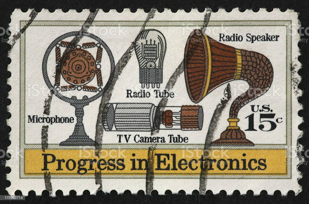 Progress in Electronics stamp 1973 royalty-free stock photo