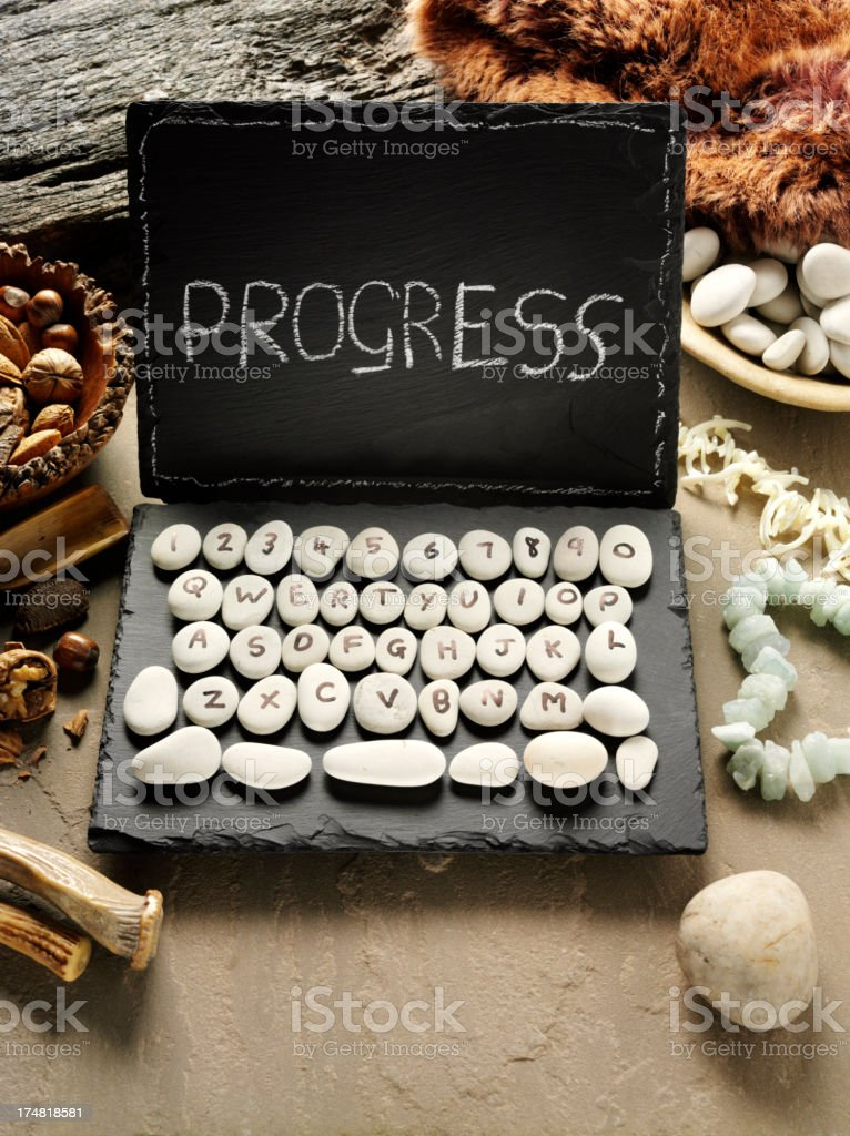Progress on a Slate and Pebble Computer royalty-free stock photo