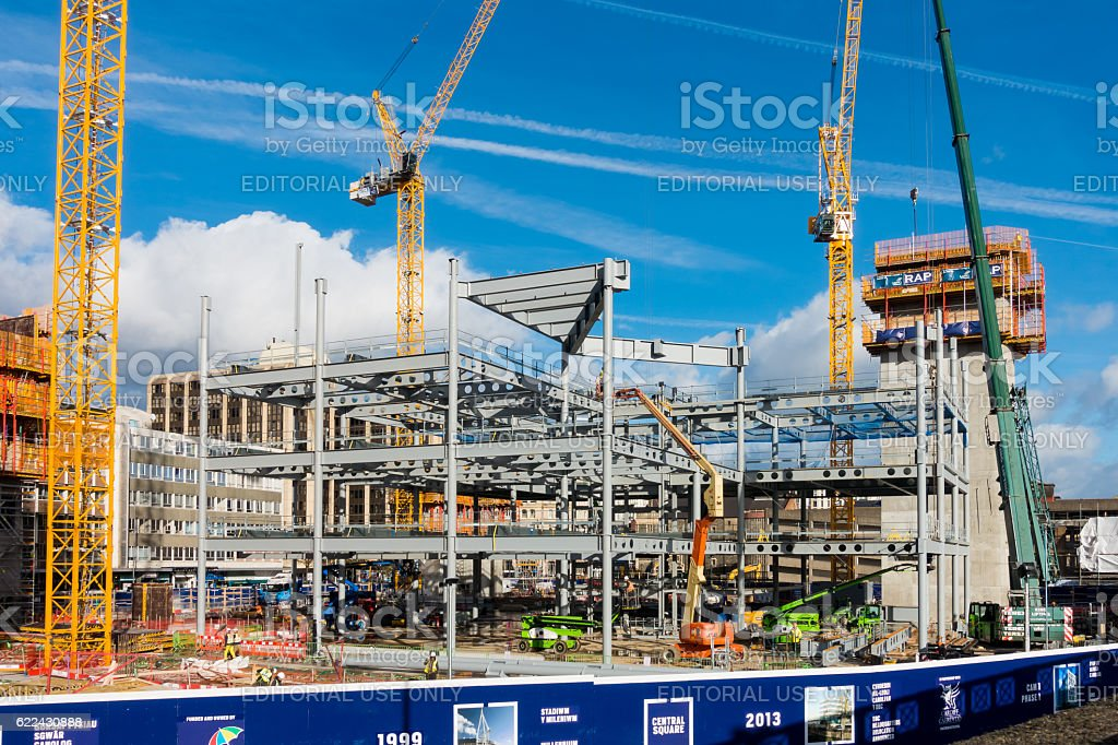 Progress on the construction site in Cardiff stock photo