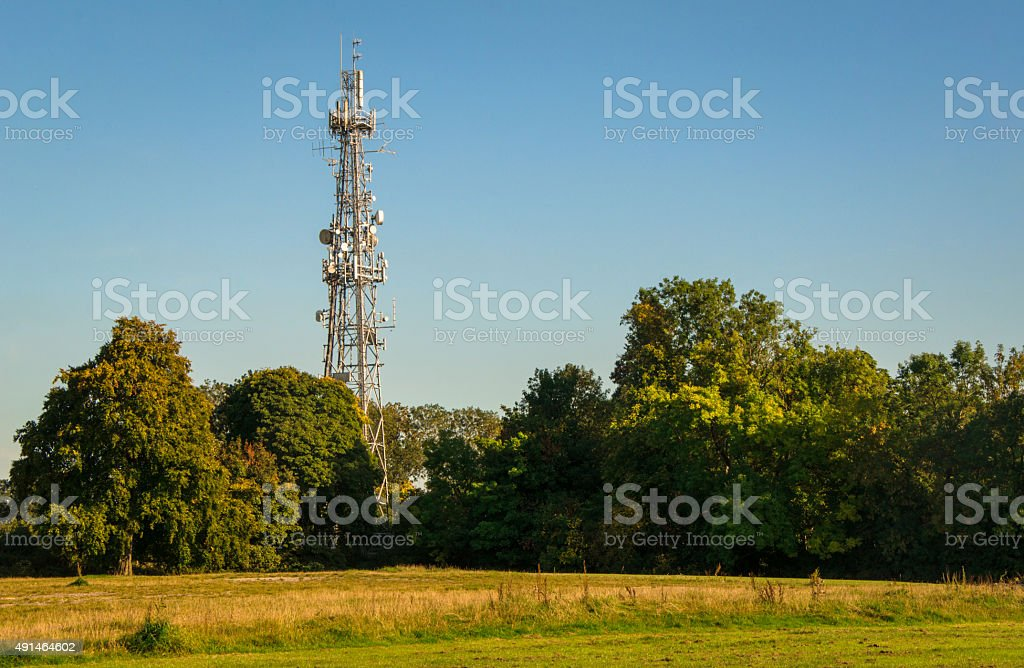 Progress vs Nature - Telecommunication tower stock photo