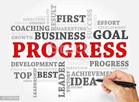 istock Progress word cloud, business concept 511794254