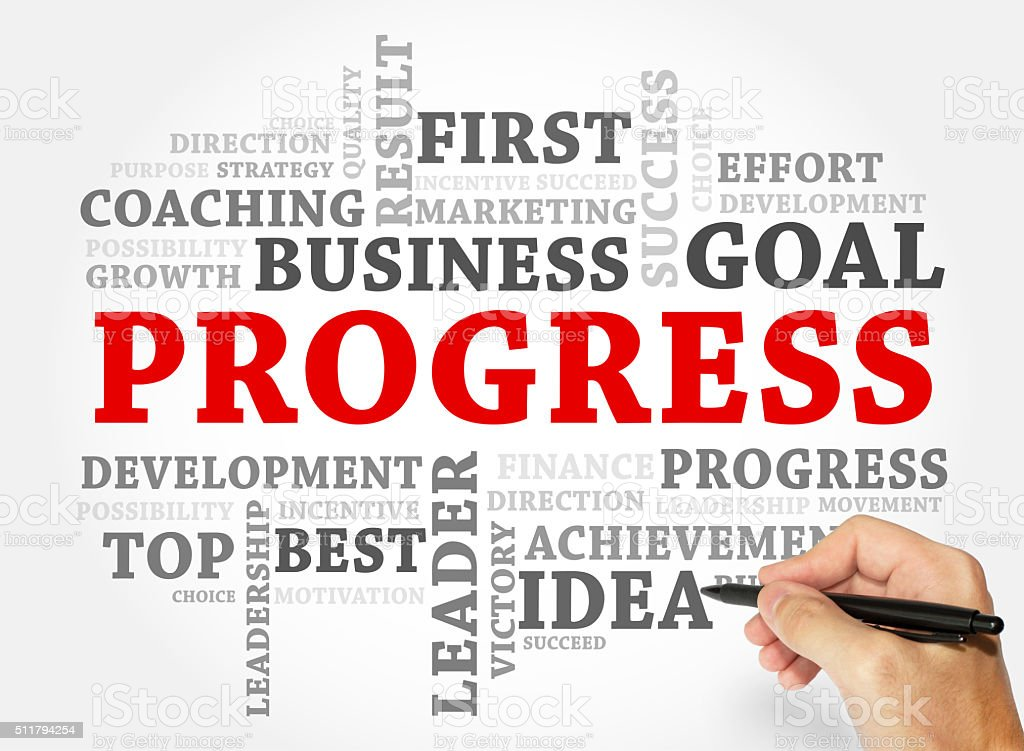 Progress word cloud, business concept stock photo