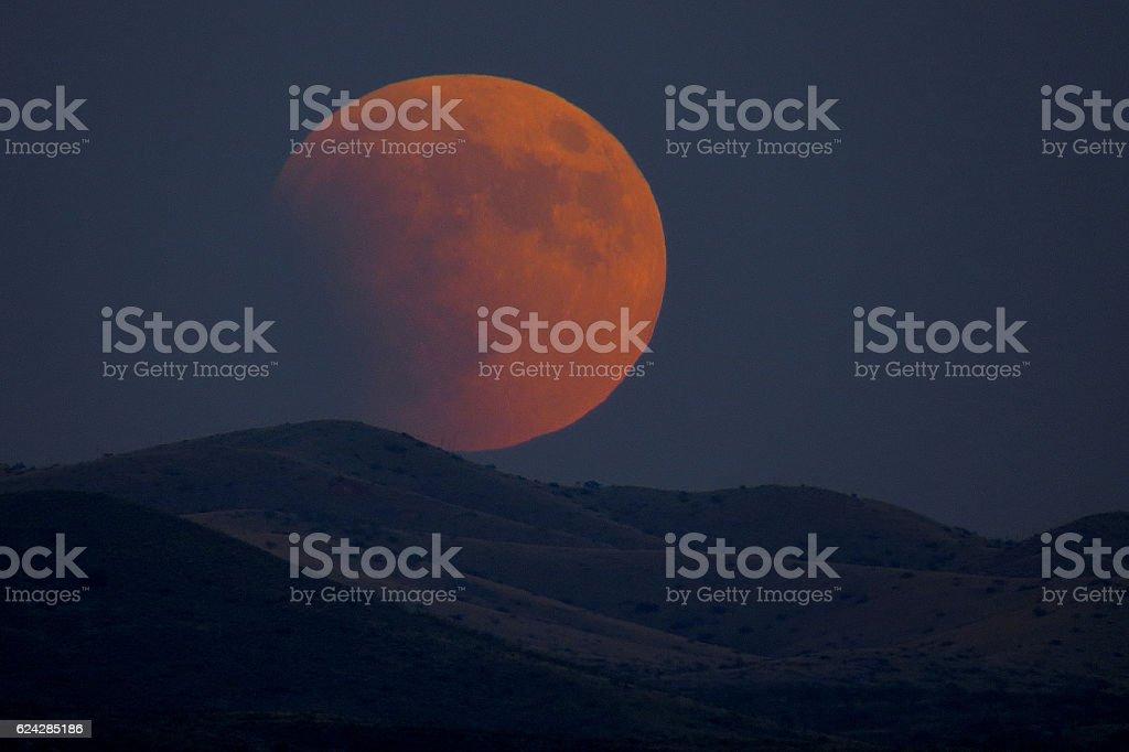 Progressing Lunar Eclipse stock photo