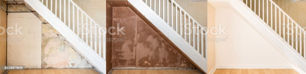 Progressive images of renovation under an old staircase. stock photo