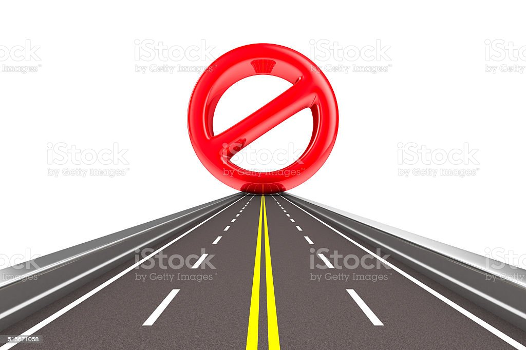 Prohibiting sign on road. Isolated 3D image stock photo