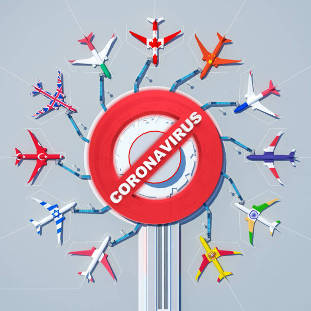 prohibition sign with text coronavirus at international airport stock photo