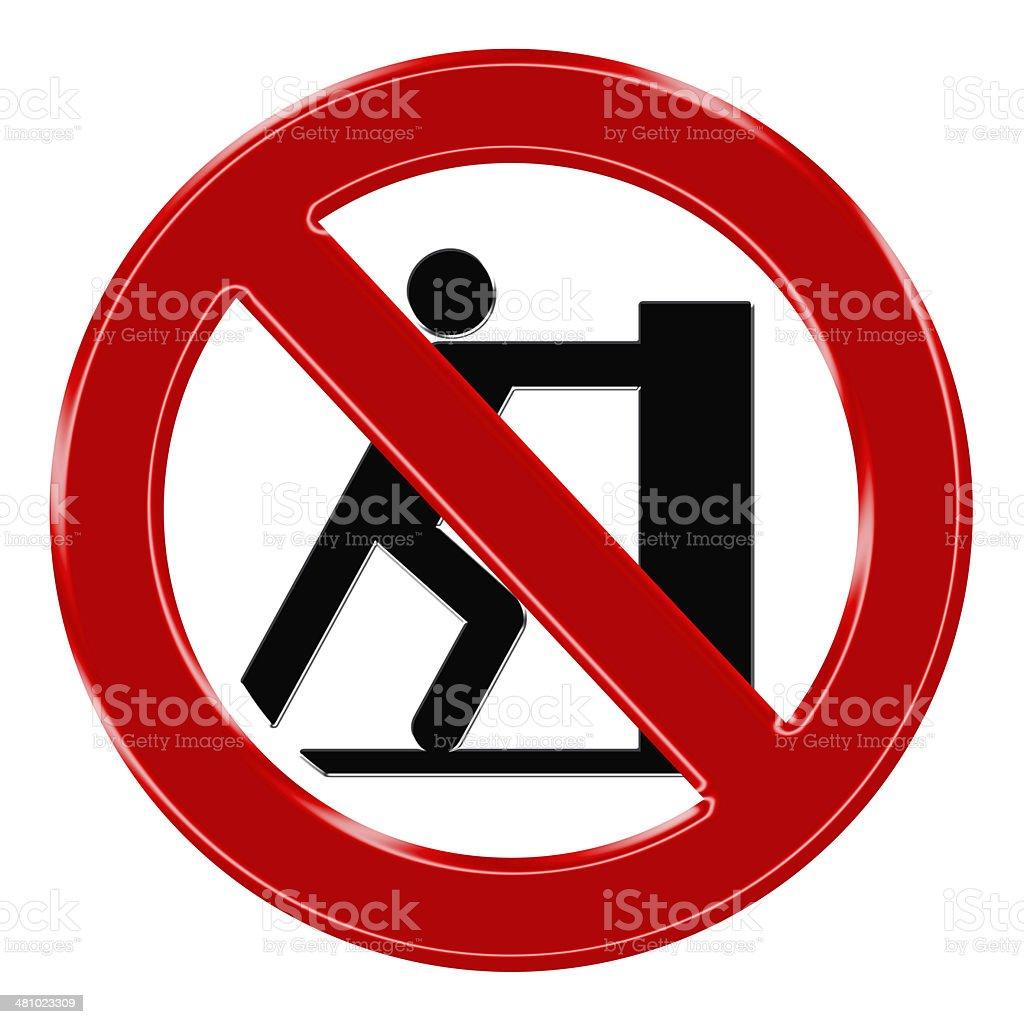 Verbotszeichen - Schieben verboten stock photo