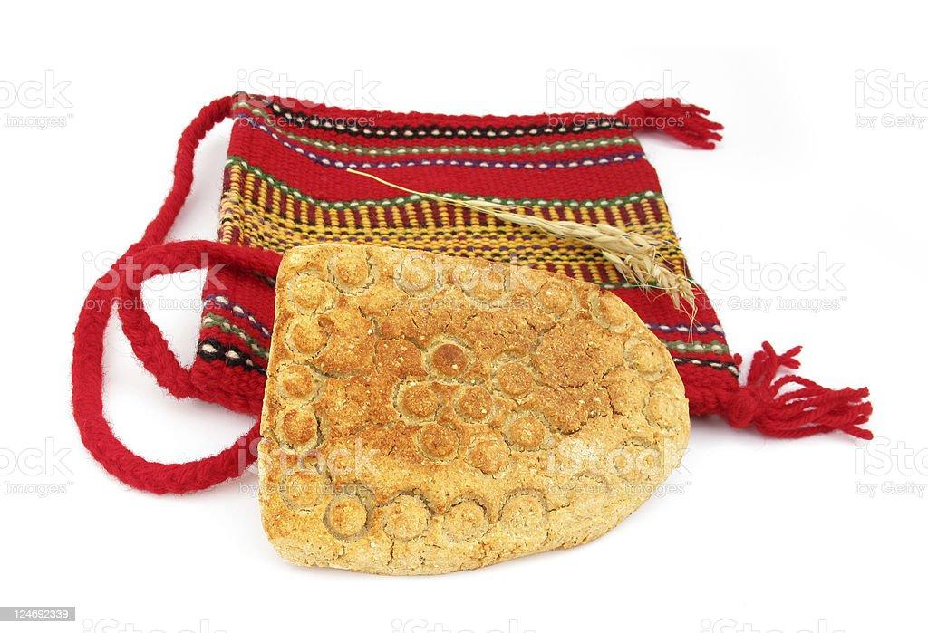 Proja or projara traditional corn bread and folk bag stock photo