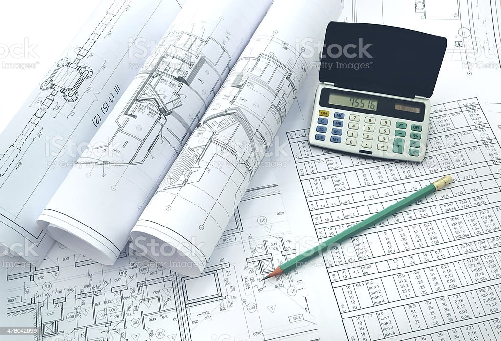 Project drafts and their calculation royalty-free stock photo