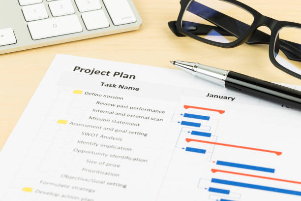 project management and gantt chart with keyboard and pen - timeline стоковые фото и изображения