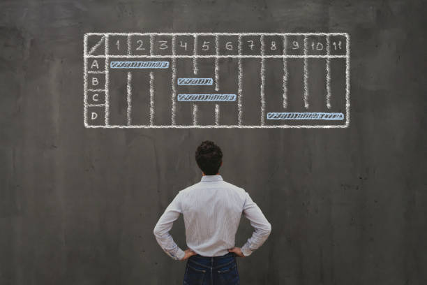 project management concept with gantt chart project management concept with gantt chart, business schedule gantt chart stock pictures, royalty-free photos & images