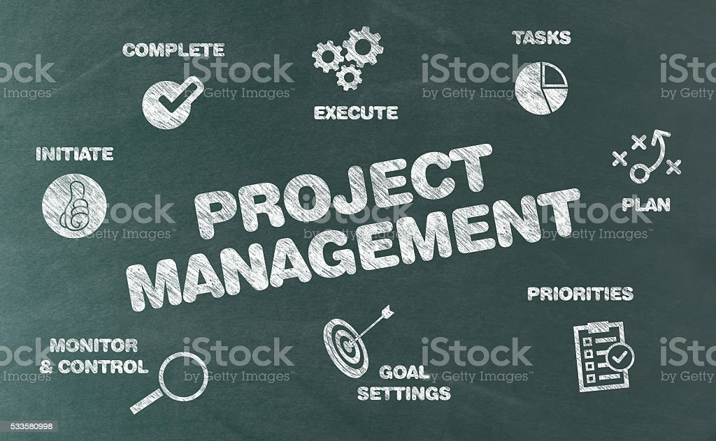 Project Management Concept with Icons and Keywords on Blackboard stock photo