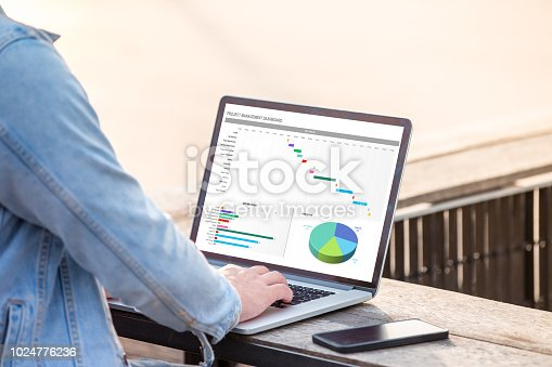istock Project management dashboard concept. A man is working using laptop doing project management dashboard on screen. 1024776236