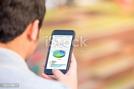 istock Project management dashboard concept. Man holding phone with excel project dashboard on screen. 1024709012