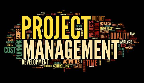 Project management in tag cloud stock photo